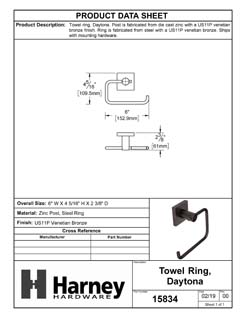 Product Data Specification Sheet Of A Towel Ring, Daytona Bathroom Hardware Set  - Venetian Bronze Finish - Product Number 15834