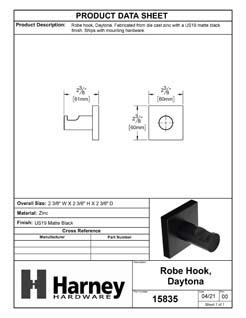 Product Data Specification Sheet Of A Robe Hook / Towel Hook, Daytona Bathroom Hardware Set - Matte Black Finish - Product Number 15835