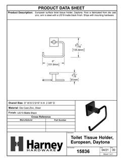Product Data Specification Sheet Of A Toilet Paper Holder, European, Daytona Bathroom Hardware Set - Matte Black Finish - Product Number 15836