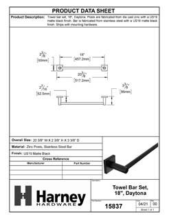 Product Data Specification Sheet Of A Towel Bar, 18 In., Daytona Bathroom Hardware Set - Matte Black Finish - Product Number 15837