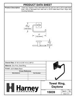 Product Data Specification Sheet Of A Towel Ring, Daytona Bathroom Hardware Set - Matte Black Finish - Product Number 15839