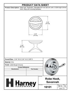 Product Data Specification Sheet Of A Robe Hook / Towel Hook, Savannah Bathroom Hardware Set  - Chrome Finish - Product Number 16101