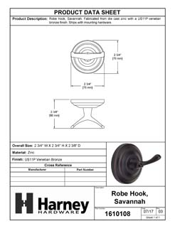Product Data Specification Sheet Of A Robe Hook / Towel Hook, Savannah Bathroom Hardware Set - Venetian Bronze Finish - Product Number 1610108