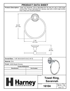 Product Data Specification Sheet Of A Towel Ring, Savannah Bathroom Hardware Set - Chrome Finish - Product Number 16104
