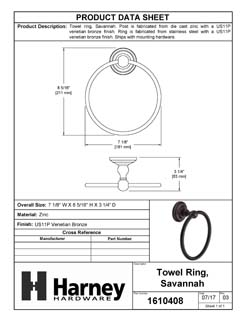 Product Data Specification Sheet Of A Towel Ring, Savannah Bathroom Hardware Set - Venetian Bronze Finish - Product Number 1610408