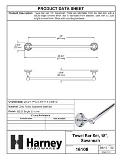 Product Data Specification Sheet Of A Towel Bar, 18 In., Savannah Collection - Chrome Finish - Product Number 16108