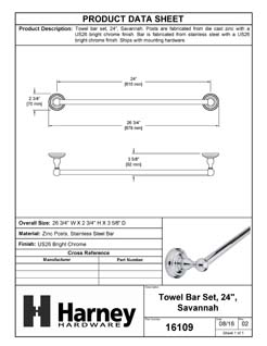 Product Data Specification Sheet Of A Towel Bar, 24 In., Savannah Bathroom Hardware Set  - Chrome Finish - Product Number 16109