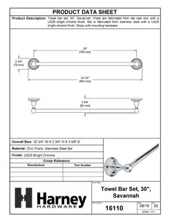 Product Data Specification Sheet Of A Towel Bar, 30 In., Savannah Bathroom Hardware Set  - Chrome Finish - Product Number 16110