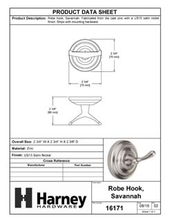 Product Data Specification Sheet Of A Robe Hook / Towel Hook, Savannah Bathroom Hardware Set  - Satin Nickel Finish - Product Number 16171
