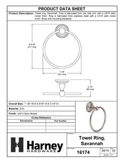 Product Data Specification Sheet Of A Towel Ring, Savannah Bathroom Hardware Set  - Satin Nickel Finish - Product Number 16174