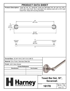 Product Data Specification Sheet Of A Towel Bar, 18 In., Savannah Bathroom Hardware Set  - Satin Nickel Finish - Product Number 16178