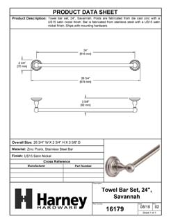 Product Data Specification Sheet Of A Towel Bar, 24 In., Savannah Bathroom Hardware Set  - Satin Nickel Finish - Product Number 16179