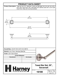 Product Data Specification Sheet Of A Towel Bar, 30 In., Savannah Bathroom Hardware Set  - Satin Nickel Finish - Product Number 16180