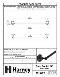 Product Data Specification Sheet Of A Towel Bar, 24 In., Savannah Bathroom Hardware Set  - Venetian Bronze Finish - Product Number 1618908