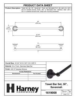 Product Data Specification Sheet Of A Towel Bar, 30 In., Savannah Bathroom Hardware Set  - Venetian Bronze Finish - Product Number 1619008