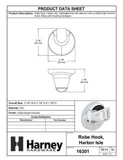 Product Data Specification Sheet Of A Robe Hook / Towel Hook, Harbor Isle Bathroom Hardware Set - Chrome Finish - Product Number 16301