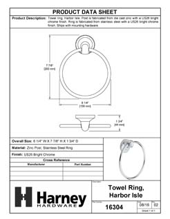 Product Data Specification Sheet Of A Towel Ring, Harbor Isle Bathroom Hardware Set  - Chrome Finish - Product Number 16304