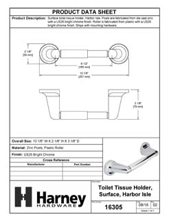 Product Data Specification Sheet Of A Toilet Paper Holder, Harbor Isle Bathroom Hardware Set  - Chrome Finish - Product Number 16305