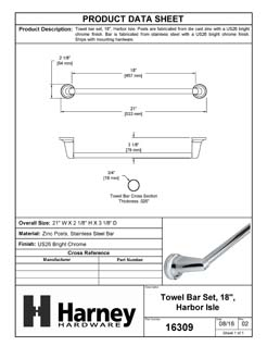 Product Data Specification Sheet Of A Towel Bar, 18 In., Harbor Isle Bathroom Hardware Set  - Chrome Finish - Product Number 16309