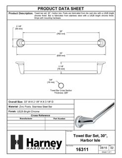 Product Data Specification Sheet Of A Towel Bar, 30 In., Harbor Isle Bathroom Hardware Set  - Chrome Finish - Product Number 16311