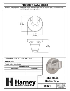 Product Data Specification Sheet Of A Robe Hook / Towel Hook, Harbor Isle Bathroom Hardware Set - Satin Nickel Finish - Product Number 16371