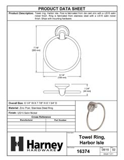 Product Data Specification Sheet Of A Towel Ring, Harbor Isle Bathroom Hardware Set - Satin Nickel Finish - Product Number 16374