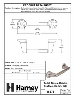 Product Data Specification Sheet Of A Toilet Paper Holder, Harbor Isle Bathroom Hardware Set - Satin Nickel Finish - Product Number 16375
