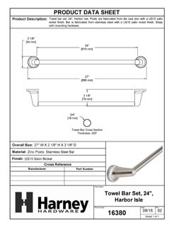 Product Data Specification Sheet Of A Towel Bar, 24 In., Harbor Isle Bathroom Hardware Set  - Satin Nickel Finish - Product Number 16380