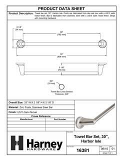 Product Data Specification Sheet Of A Towel Bar, 30 In., Harbor Isle Bathroom Hardware Set - Satin Nickel Finish - Product Number 16381