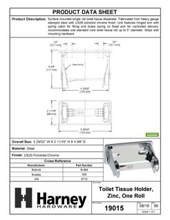 Product Data Specification Sheet Of A Toilet Paper Dispenser, Single Roll - Chrome Finish - Product Number 19015
