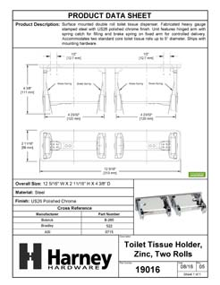 Product Data Specification Sheet Of A Toilet Paper Dispenser, Double Roll - Chrome Finish - Product Number 19016