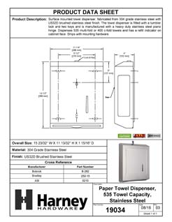 Product Data Specification Sheet Of A Paper Towel Dispenser, 535 Towels - Satin Stainless Steel Finish - Product Number 19034