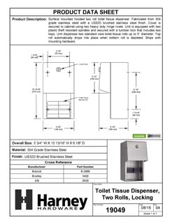 Product Data Specification Sheet Of A Toilet Paper Dispenser, Double Roll - Satin Stainless Steel Finish - Product Number 19049