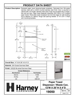 Product Data Specification Sheet Of A Paper Towel Dispenser And Waste Receptacle, Recessed - Satin Stainless Steel Finish - Product Number 19050