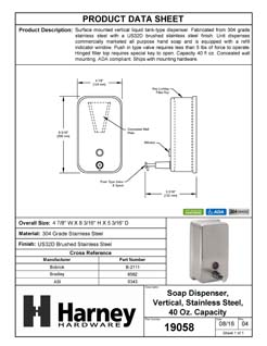 Product Data Specification Sheet Of A Commercial Liquid Soap Dispenser, Vertical, ADA Compliant, 40 Oz. - Satin Stainless Steel Finish - Product Number 19058