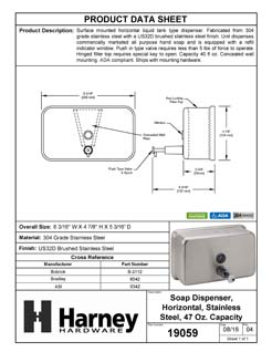 Product Data Specification Sheet Of A Commercial Liquid Soap Dispenser, Horizontal, ADA Compliant, 40 Oz. - Satin Stainless Steel Finish - Product Number 19059