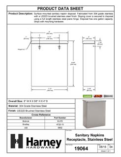 Product Data Specification Sheet Of A Sanitary Napkin Receptacle - Satin Stainless Steel Finish - Product Number 19064