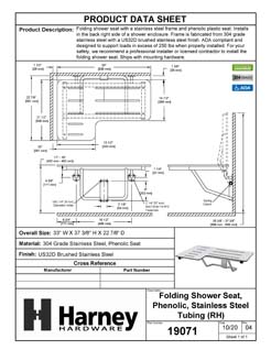 Product Data Specification Sheet Of A Folding Shower Bench, Right Handed, Phenolic Seat, ADA Compliant - Satin Stainless Steel Finish - Product Number 19071