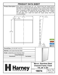 Product Data Specification Sheet Of A Restroom ADA Mirror, Fixed Tilt, 24 In. X 36 In. - Satin Stainless Steel Finish - Product Number 19074