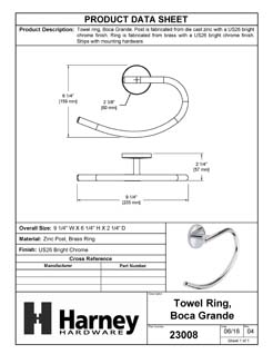 Product Data Specification Sheet Of A Towel Ring, Boca Grande Bathroom Hardware Set - Chrome Finish - Product Number 23008