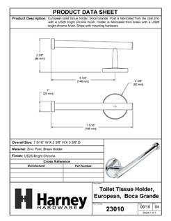 Product Data Specification Sheet Of A Toilet Paper Holder, European, Boca Grande Bathroom Hardware Set  - Chrome Finish - Product Number 23010