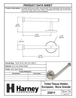 Product Data Specification Sheet Of A Toilet Paper Holder, European, Boca Grande Bathroom Hardware Set  - Satin Nickel Finish - Product Number 23011