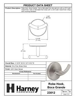 Product Data Specification Sheet Of A Robe Hook / Towel Hook, Boca Grande Bathroom Hardware Set - Satin Nickel Finish - Product Number 23012