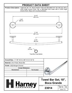 Product Data Specification Sheet Of A Towel Bar, 18 In., Boca Grande Bathroom Hardware Set  - Chrome Finish - Product Number 23014