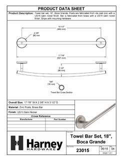 Product Data Specification Sheet Of A Towel Bar, 18 In., Boca Grande Bathroom Hardware Set - Satin Nickel Finish - Product Number 23015