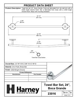 Product Data Specification Sheet Of A Towel Bar, 24 In., Boca Grande Bathroom Hardware Set  - Chrome Finish - Product Number 23016