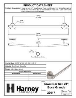 Product Data Specification Sheet Of A Towel Bar, 24 In., Boca Grande Bathroom Hardware Set  - Satin Nickel Finish - Product Number 23017