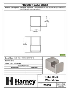 Product Data Specification Sheet Of A Robe Hook / Towel Hook, Westshore Bathroom Hardware Set  - Satin Nickel Finish - Product Number 23050