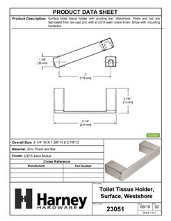 Product Data Specification Sheet Of A Toilet Paper Holder With Pivoting Bar, Westshore Bathroom Hardware Set - Satin Nickel Finish - Product Number 23051