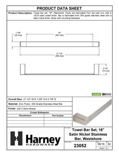 Product Data Specification Sheet Of A Towel Bar, 18 In., Westshore Bathroom Hardware Set  - Satin Nickel Finish - Product Number 23052